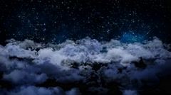 3d aerial view night sky clouds and star light falling moving background Stock Footage