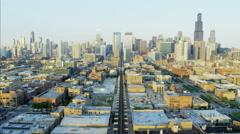 Aerial sunset cityscape view of Chicago Illinois Metropolitan city Skyscraper Stock Footage