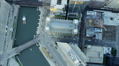 Aerial vertical overhead rooftop view of Metropolitan Chicago city River Stock Footage