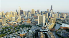 Aerial sunlight sunset view of Sears Tower Chicago Illinois Metropolitan Stock Footage