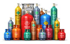Set of different industrial liquefied gas containers Stock Illustration