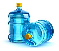 Two 19 liter or 5 gallon plastic drink water bottles Stock Illustration