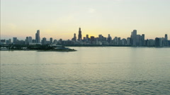 Aerial sunset view of Sears Tower Lake Michigan Waterfront Adler Planetarium and Stock Footage