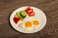 Continental breakfast on wooden background Stock Photos