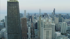 Aerial sunset view of Hancock Center and Trump Tower Chicago Illinois city Stock Footage