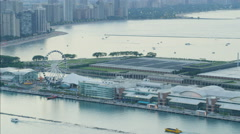 Aerial view of Lake Michigan Navy Pier fair Hancock Center Chicago Waterfront Stock Footage