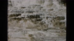 1958: grandeur of the frozen mountain side scenic waterfall covered with snow Stock Footage