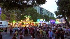 Summer Night Fair With Lights. Stock Footage