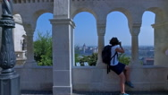 View of the Hungarian Parliament and Dabube river from the Fisherman´s Bastion. Stock Footage