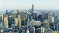 Chicago, USA - September 2016: Aerial view of Downtown Willis Tower and Stock Footage