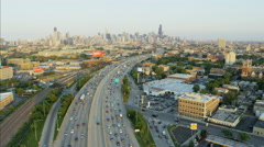 Chicago, USA - September 2016: Aerial sunset cityscape view of Chicago Illinois Stock Footage