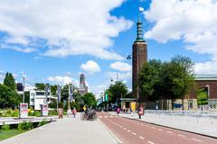 ROTTERDAM, Netherlands - August 10 : Street view of Rotterdam on August 10, 2 Stock Photos