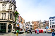ANTWERP, BELGIUM - August 18, 2016. Beautiful street view of  Old town in Ant Stock Photos