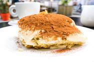 Classical Dessert homemade Tiramisu Cake Stock Photos