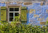 Traditional german house window and stone wall Stock Photos