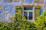 Blue house wall with window and vines Stock Photos
