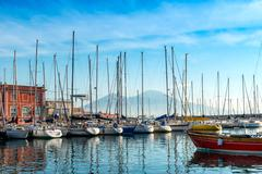 Street view of Naples harbor with boats, italy Europe Stock Photos
