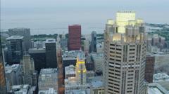 Chicago, USA - September 2016: Aerial illuminated sunset view of Lake Michigan Stock Footage