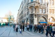 MUNICH, GERMANY-April 29 : Street view of Tourists on foot Street in Downtown Stock Photos