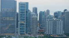 Chicago, USA - September 2016: Aerial sunset view of Lake Michigan Chicago River Stock Footage