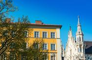 Traditional street view of old buildings in Munich, Bavaria, Germany Stock Photos