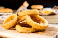 Fast food Homemade Crunchy Fried onion rings Stock Photos