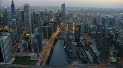Chicago, USA - September 2016: Aerial sunset illuminated view of Trump Tower Stock Footage