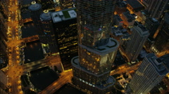 Chicago, USA - September 2016: Aerial illuminated view of Trump Tower Rooftop Stock Footage