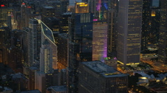 Chicago, USA - September 2016: Aerial illuminated view of Chicago Illinois the Stock Footage
