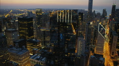 Chicago, USA - September 2016: Aerial illuminated sunset view of Legacy Tower Stock Footage