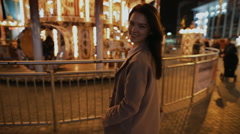 Romantic moment in night city. Woman show gesture - go with me. Stock Footage