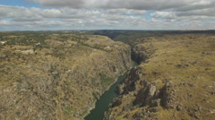 Aerial view side to cliff in Duero River, Spain Stock Footage