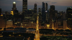 Chicago, USA - September 2016: Aerial sunset illuminated view of Sears Tower Stock Footage
