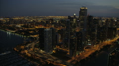 Chicago, USA - September 2016: Aerial sunset illuminated view of Lakeshore Drive Stock Footage