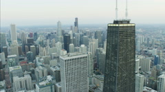 Chicago, USA - September 2016: Aerial sunlight sunset view of Hancock Center Stock Footage
