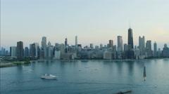 Chicago, USA - September 2016: Aerial sunset view of Lake Michigan Lakeshore Stock Footage