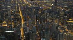 Chicago, USA - September 2016: Aerial illuminated night view of Hancock Center Stock Footage