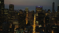 Chicago, USA - September 2016: Aerial illuminated night view of Willis Tower Stock Footage