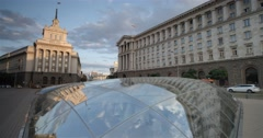 Bulgarian Parliament to the reflection in the glass dome in the center of Sofia Stock Footage