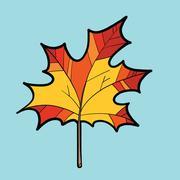 Maple red leaf, nature autumn season Stock Illustration