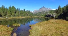 Alpine lake in mountain - Aerial view 4k Stock Footage
