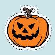 Sticker label evil Halloween pumpkin Piirros