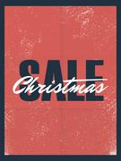 Christmas sale poster old vintage paper vector background. Special offers banner Stock Illustration