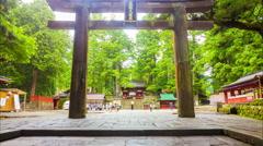 Time-lapse Tosho-gu Shrine Torii Gate Entrance Steps Centered Stationary Nikko Stock Footage