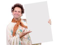 Artist shows white empty canvas Stock Photos