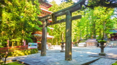 Pan Time-lapse Serene Morning Nikko Toshogu Shrine Torii Gate Pagoda Elevated Stock Footage