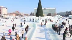 Ice slide, Ice town in Perm - traditional winter attraction Stock Footage