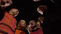 March 2016. British youth soccer team training huddle for a team talk. Stock Footage