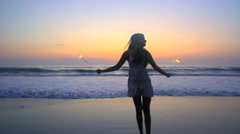 Silhouette of young beautiful Asian Indian woman celebrating birthday  Stock Footage