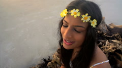 Portrait of young beautiful Indian American female making video diary  Stock Footage